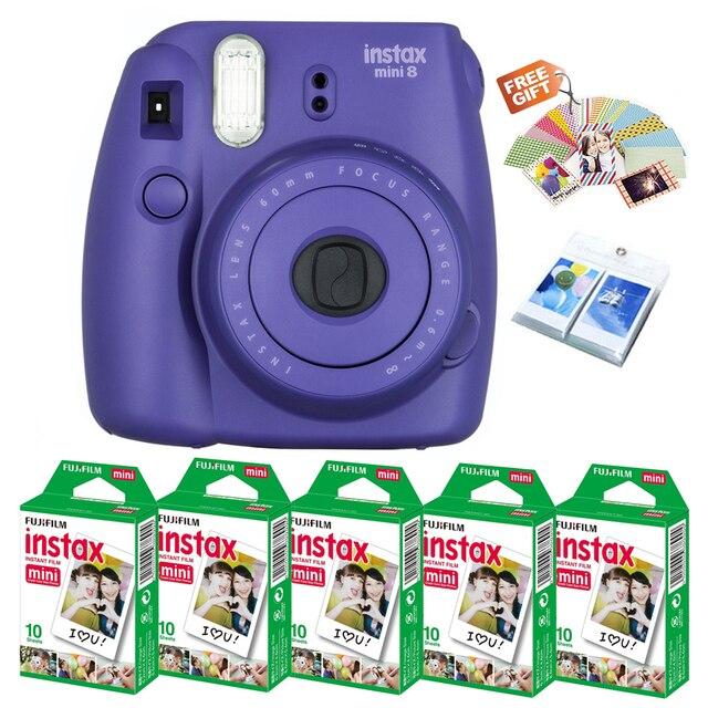 Fujifilm Instax Mini 8 Film Camera Grape Purple Color 50 Prints Fuji Instant White