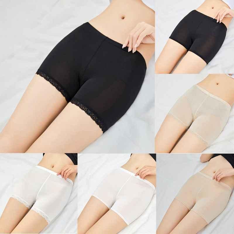 Wanita Gadis Musim Panas Ukuran Celana Safety Tanpa Jejak Lace Potong Akhir Datar Solid Warna Elastis Celana Mid Naik Tipis Petinju celana Pendek