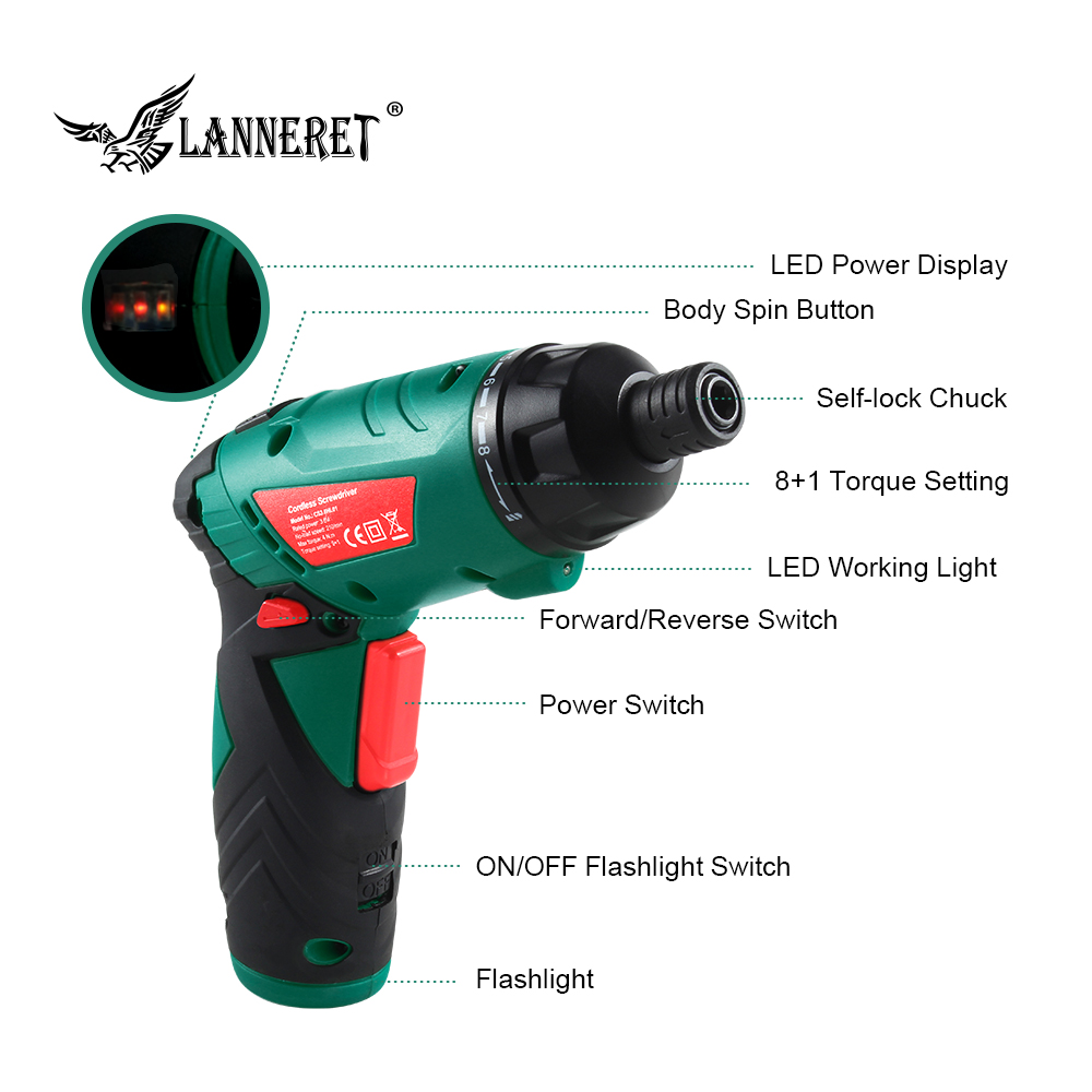 Image 2 - LANNERET 3.6V Cordless Electric Screwdriver Lithium Ion Household Multifunction Drill/Driver Power Gun Tools LED Light-in Electric Screwdrivers from Tools on