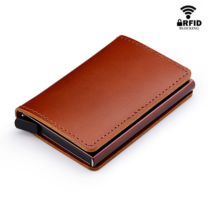 Credit Card Holder Aluminum Wallet RFID Blocking Slim Metal Hard Case Realistic Forest Camouflage