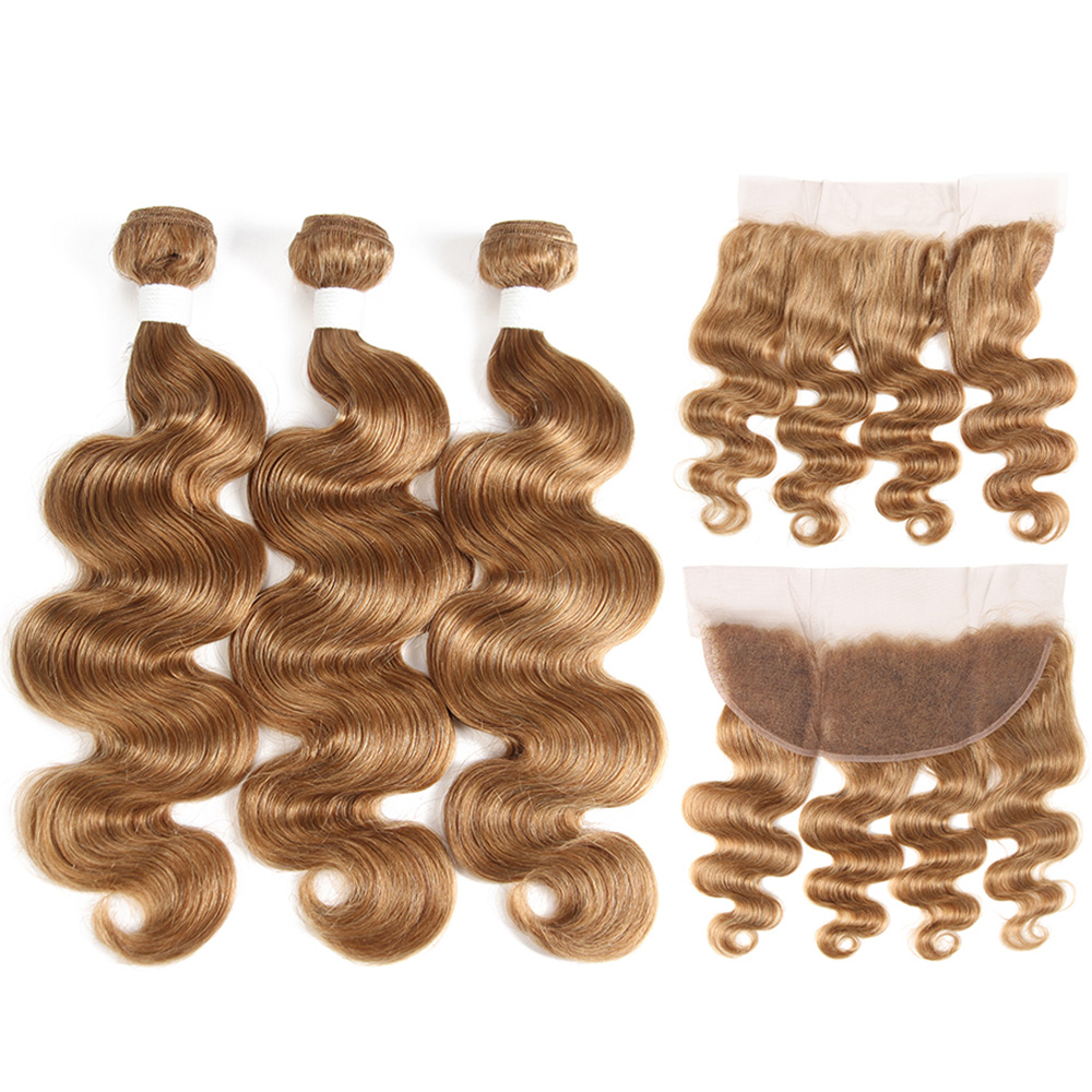 Honey Blonde Human Hair Bundles With Frontal SOKU Brazilian Body Wave Hair Weaves Bundle 3/4PCS 100% Non-Remy Hair Extension