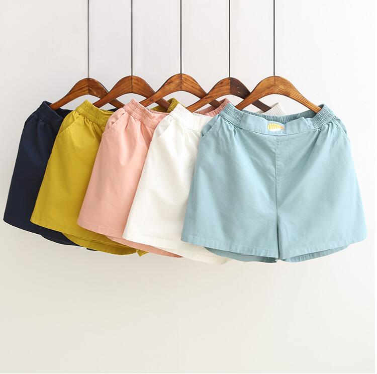 Summer new small fresh embroidered candy color elastic waist   shorts