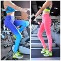 Женщины фитнес леггинсы градиент цвета высокой упругой удобные длинные брюки тренировки брюки бодибилдинг одежда дышащий 8266
