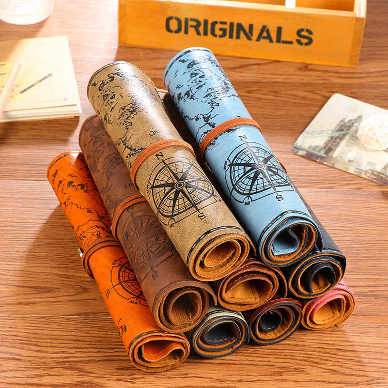 Retro roll leather pencil case school pencil case creative pirate portable pencil bag cosmetic bag school suppliesRetro roll leather pencil case school pencil case creative pirate portable pencil bag cosmetic bag school supplies