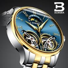 Estilo de diseño único Doble Tourbillon esqueleto Reloj BINGER Hombres Ocasionales de Acero Completo Reloj Mecánico Automático Del Reloj 2017