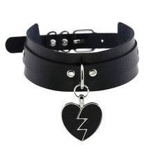 62352c7980f Noir Punk coeur collier ras du cou Goth mode colliers 2019 kawaii cuir  Choker femmes filles Rock Harajuku Emo gothique bijoux