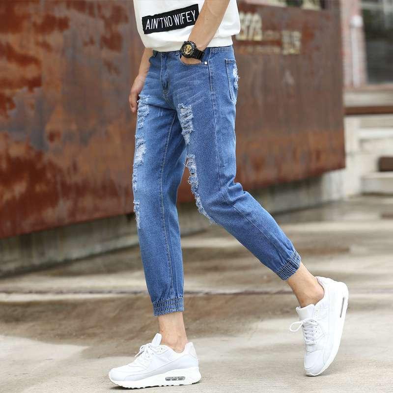 #1412 Ripped jeans for men Fashion Slim Biker jeans men Distressed biker jeans Ripped jeans for men Skinny Slim fit Summer