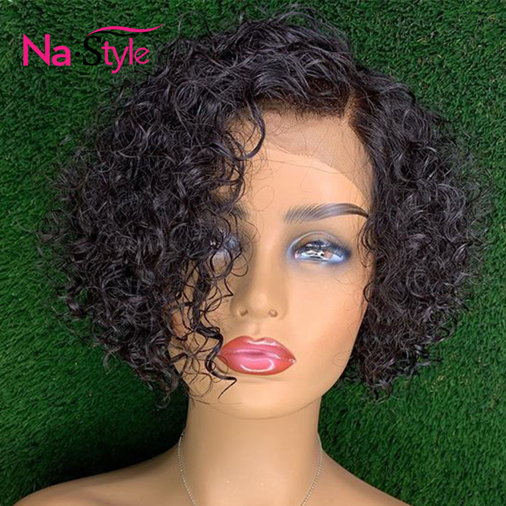 Wet And Wavy Bob Lace Front Wigs Human Hair Bob Wigs Water Wave Wigs For Women Black Glueless Lace Front Human Hair Wigs
