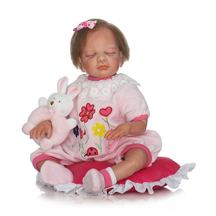 50cm Silicone Reborn Sleeping Baby Doll Toy Lifelike Princess Newborn Babies Toddler Doll Birthday Gift Xmas Present Girl Brinqu 55cm silicone reborn baby doll toy lifelike npkcollection baby reborn doll newborn boys babies doll high end gift for girl kid