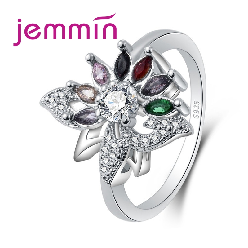 Charming Flower Multicolor Tourmaline Big Round White CZ 925 Sterling Silver Ring Glamorous Women Jewelry Wholesale