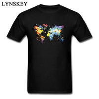 The Colorful World Map Mens Fashion Tee Shirts High Quality Never Fade 3D Print Cotton Short