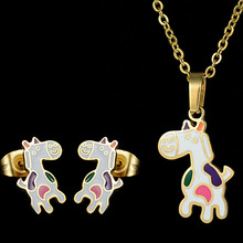Eleple Cute Titanium Steel Horse Cartoon Earnail Necklace Set Girls Sweet Animals Party Gifts Girly Chain Jewelry Sets S-S028