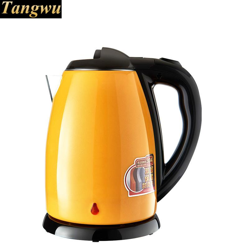 цена на Full steel electric kettle 304 stainless kettles home double-layer perm