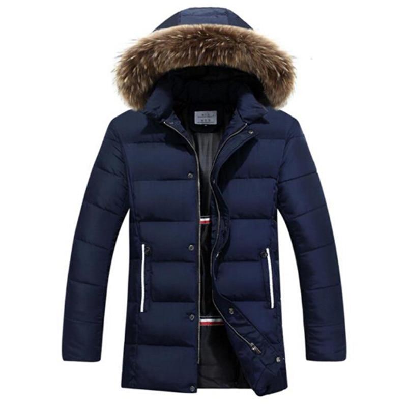 ФОТО Raccoon Dog Fur Winter Warm Down Jacket 2016 New Men Thick Hooded Coat Long Mens Parka Jacket High Quality Brand 3 Color