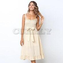 Cuerly New Fashion Women Bow Tie Dress Summer Off Shoulder Spaghetti Strap Midi Lady Sling Ruffle Vestidos Robe L8