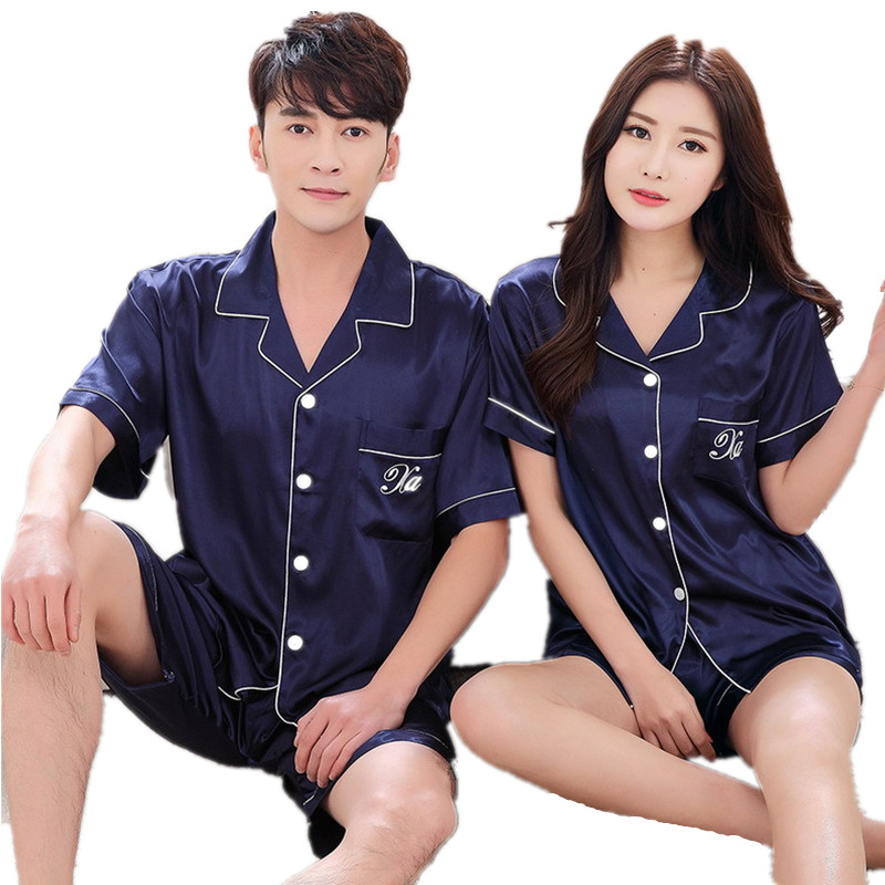 Summer New Satin Silk Pajamas Set For Men And Women Couple Pajamas Cardigan V-Neck Shirt + Shorts Casual Home Clothes Sleepwear