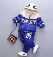 Children's Clothing Baby Winter Clothes Set Boy Plus Velvet Thick Two Piece Sets Sports Clothes Sweat Shirt Suits  QHD006