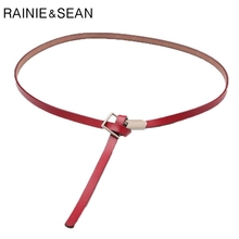 RAINIE SEAN Women Knot Belt Thin Self Tie Genuine Leather Belts For Red Square Buckle Ladies Wasit Dress