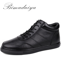 BIMUDUIYU Big Size Men S Casual Warm Shoes Genuine Leather Plush Single Lace Up Ankle Boots