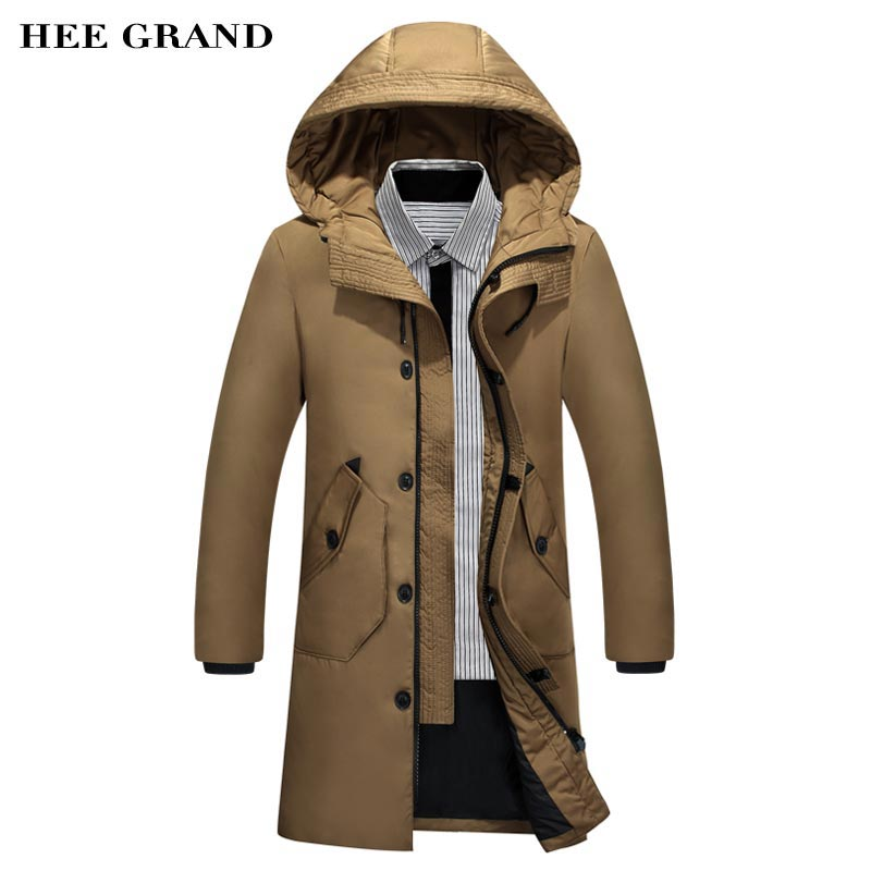 HEE GRAND Men Winter Warm Down Coat 2018 New Arrival Long Stretch Solid Color Big Pockets Waterproof Male Thick Outwear MWM1692