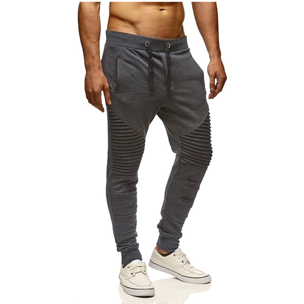 2019 Ripped Pleated Men Joggers Pants Striped Slim Pants Men Hip Hop Streetwear Sweatpants Trousers Pantalon Homme