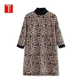 e620e6053f02 T MODA 2019 mujeres leopardo estampado Mini vestido Animal patrón cuello  alto media manga recta Mujer Casual Vestidos Retro