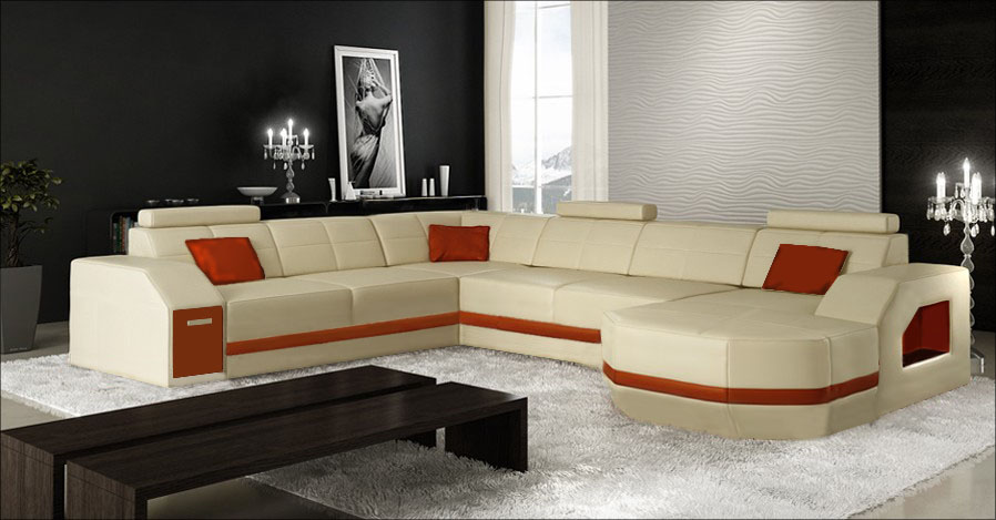 New Style Living Room Genuine Leather Sofa 0413-C4011