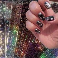 16 sztuk/zestaw 20*4cm koronki laserowe gwiaździste folie do paznokci Holo Nail Art Transfer Sticke holograficzne naklejki Manicure dekoracji