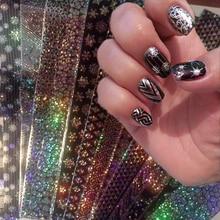 16Pcs/Set 20*4cm Lace Laser Starry Nail Foils Holo Nail Art Transfer Sticke Holographic Sticker Manicure Decoration