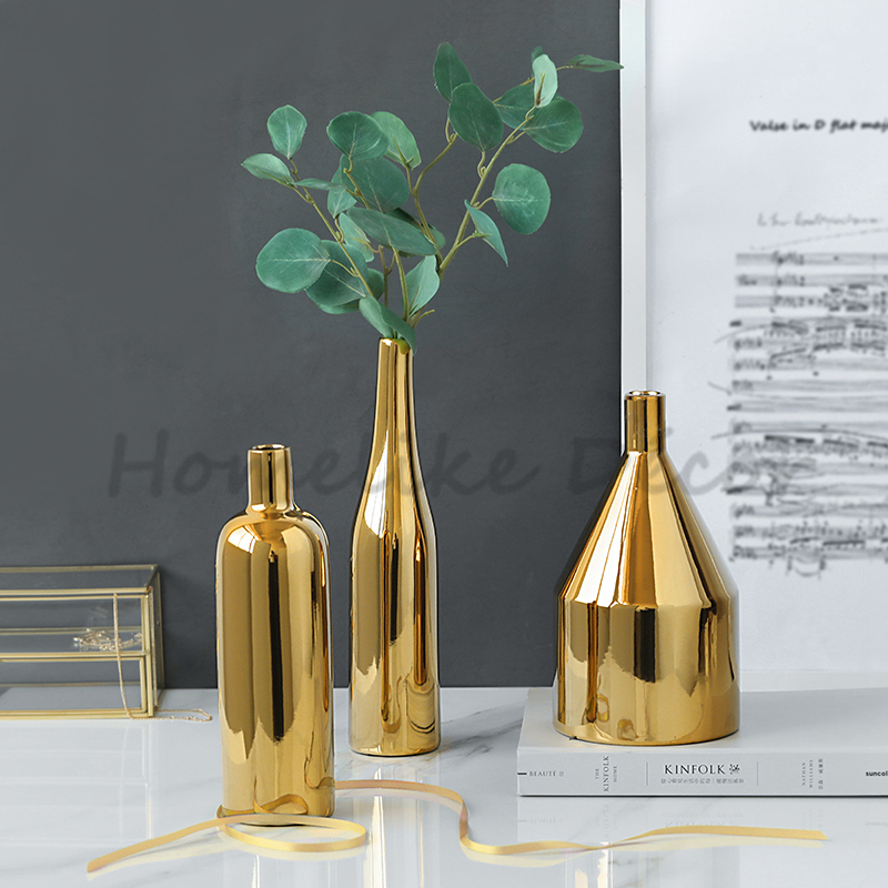 Modern Golden Plated Flower Vase Ceramic Flower Pot Electroplating Vase Floral Centerpiece Crafts Home Table DecorationModern Golden Plated Flower Vase Ceramic Flower Pot Electroplating Vase Floral Centerpiece Crafts Home Table Decoration