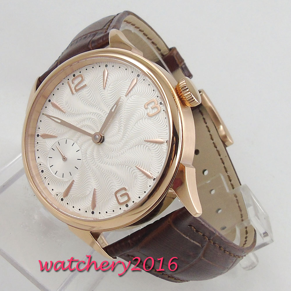 42mm White Sterile Dial Rose Golden Plated Case 6497 Hand Winding movement men's Watch