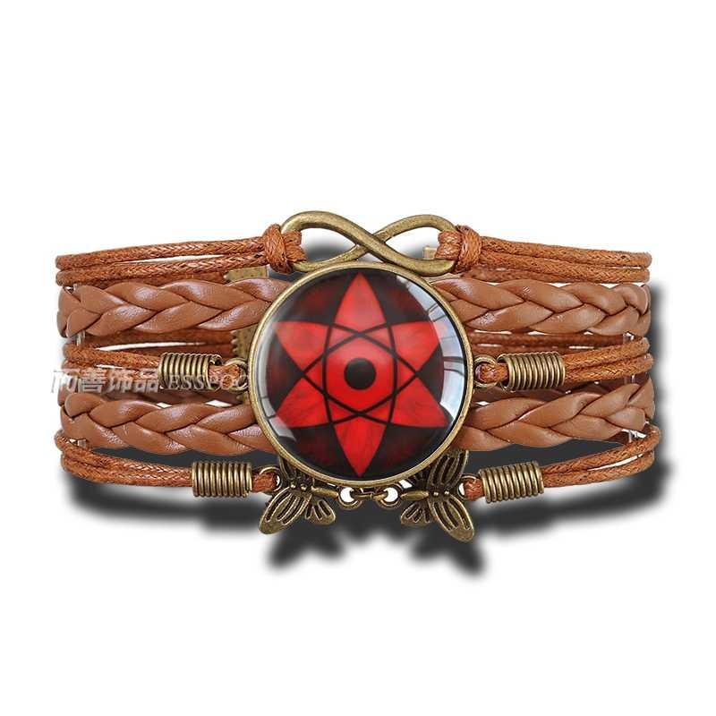 Rinnegan oczy szklana kopuła Naruto bransoletka Sharingan zmienić kolor oko biżuteria wisiorek skórzany Uchiha Uzumaki Logo klanu Anime Cosplay kochanka prezent