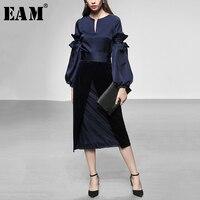 [EAM] 2019 Весна женщина темперамент o образным вырезом Фонарь с длинным рукавом сращены эластичный пояс бархатная юбка костюм LD0455