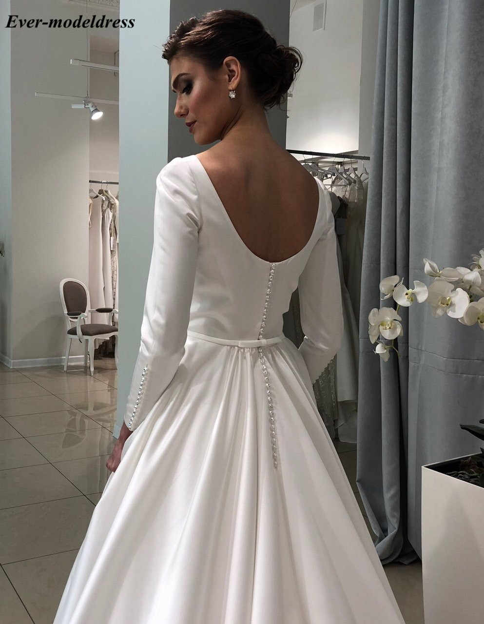 d86fa2cfbe Satin Simple Wedding Dress Long Sleeves Sexy Button Back Sweep Train  Elegant Bridal Gowns Plus Size Customized Vestido De Noiva