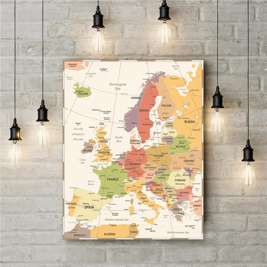 Colorful Europe Map Vintage…