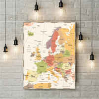 Colorful Europe Map Vintage Antique Canvas Wall Sticker Living Room Poster print Retro Art Style Painting Cafe Pub Bar Picture