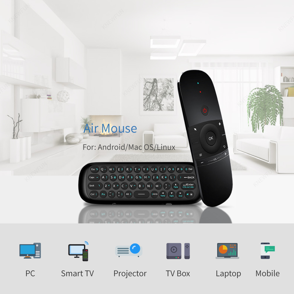 Knewfun Keyboard Mouse Wireless 2.4G Fly Air Mouse Rechargeable Remote Control For Smart PC/TV BOX Android Windows Mac OS Linux