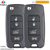 Keyecu par virar chave do carro de controle remoto com 4 botão & megamos aes & 433 mhz-para jeep renegado 2016-2018 p/n: 2adftfi5am433tx