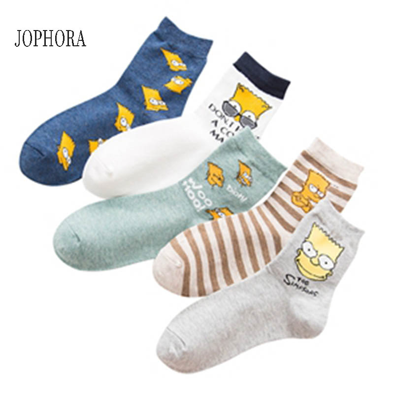 JOPHORA 2019 HOT  Spring And Summer New Combed Cotton Deodorant Men's Socks Simpson Cartoon Couple In Stockings