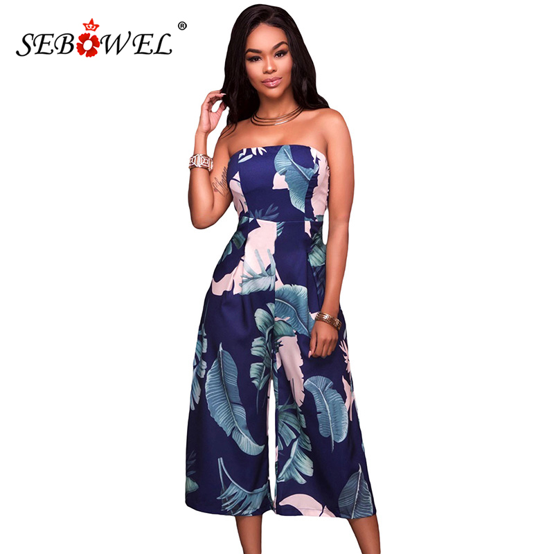 SEBOWEL Summer Leaf Print Strapless Capris Jumpsuit for Woman Sexy Sleeveless Long Wide Leg Pant Whit Blue Holiday Rompers S XXL in Jumpsuits from Women 39 s Clothing