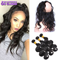 7A Pre Plucked 360 Frontal With Bundles Body Wave Peruvian Virgin Human Hair With Closure 360 Lace Frontal Band With Closure