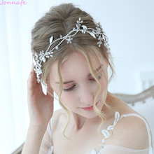 Jonnafe Charming Bridal Headpiece Silver Color Rhinestone Wedding Headband Tiara Handmade Hair Accessories For Bride