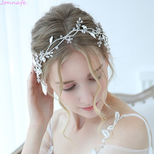 Image 1 - Jonnafe Charming Bridal Headpiece Silver Color Rhinestone Wedding Headband Tiara Handmade Hair Accessories For Bride