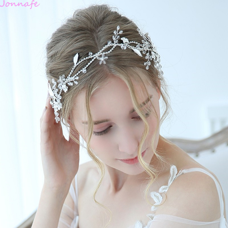 Jonnafe Charming Bridal Headpiece Silver Rhinestone Wedding Headband Tiara Handmade Hair Accessories For Bride charming embellished blue rhinestone wedding ring