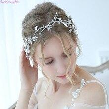 Jonnafe urocza ozdoba ślubna do włosów srebrne z kryształem górskim ślubna opaska Tiara Handmade akcesoria do włosów dla panny młodej