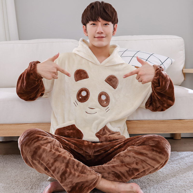 Sleepwear Pajamas-Sets Lounge Flannel Male Winter Autumn 5XL 6XL Thick Cartoon Coral