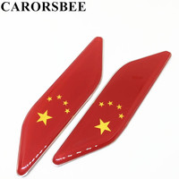 CARORSBEE 1 Pair China Chinese national flag Car Fender side Sticker Auto Window Emblems Badge Flags Decals Racing Motorsports