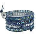New arrival boho style crystal  Beads weaving Leather 5X Wrapped Bracelet Bracelets for women bijoux femme bracelet JBN-8826