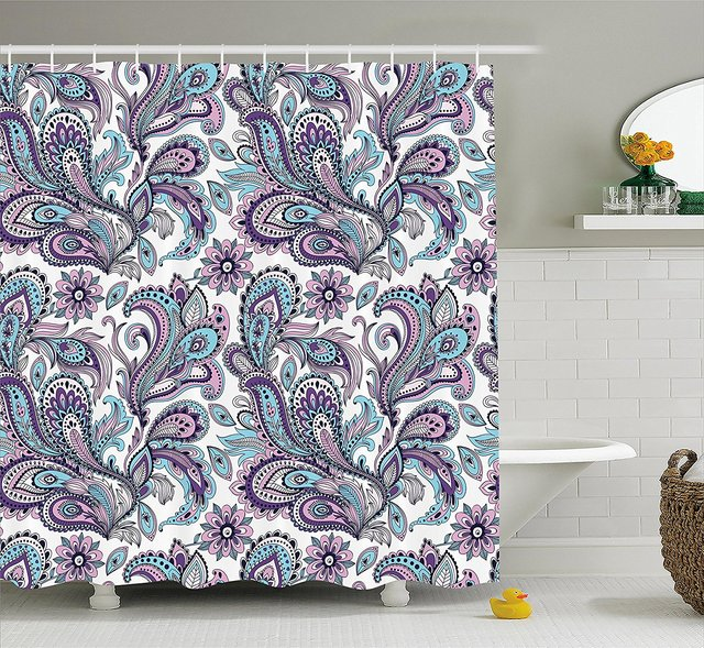 Memory Home Paisley Shower Curtain Blue Purple Flowers Leaves ...