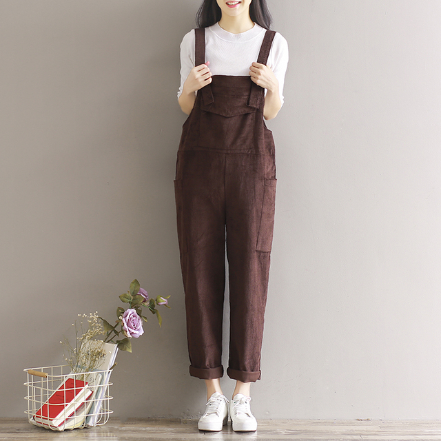2017 New Spring and Summer Women Loose Corduroy Jumpsuits Rompers with Pockets Female Suspenders Plus Size Overalls